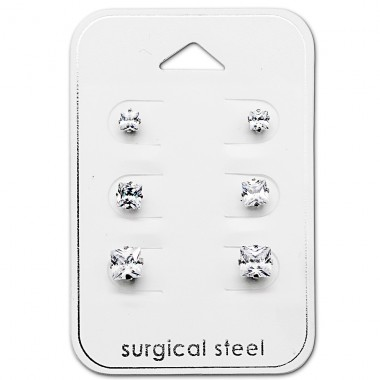 Square - 316L Surgical Grade Stainless Steel Steel Jewellery Sets A4S29033