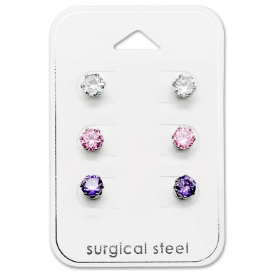 Round - 316L Surgical Grade Stainless Steel Steel Jewellery Sets A4S29037