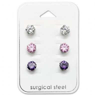 Round - 316L Surgical Grade Stainless Steel Steel Jewellery Sets A4S29038