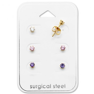 Round - 316L Surgical Grade Stainless Steel Steel Jewellery Sets A4S29039