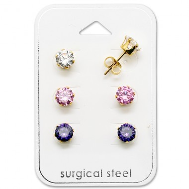Round - 316L Surgical Grade Stainless Steel Steel Jewellery Sets A4S29042