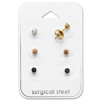 Round - 316L Surgical Grade Stainless Steel Steel Jewellery Sets A4S29043