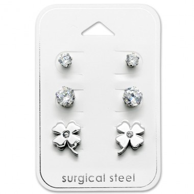 Flower - 316L Surgical Grade Stainless Steel Steel Jewellery Sets A4S29047