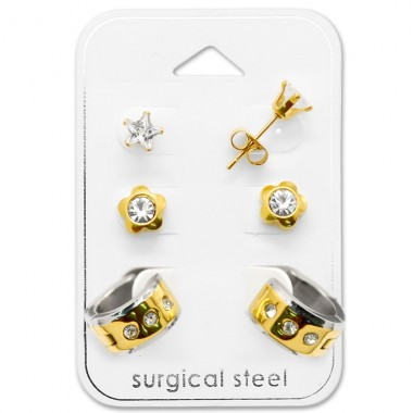 Flower - 316L Surgical Grade Stainless Steel Steel Jewellery Sets A4S29049