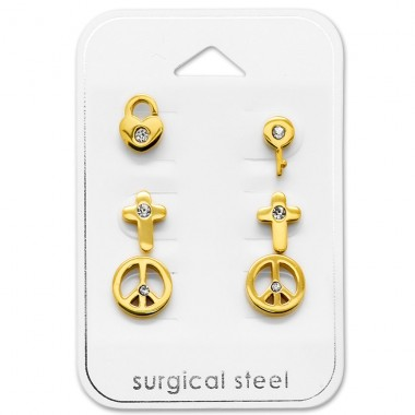 Mixed - 316L Surgical Grade Stainless Steel Steel Jewellery Sets A4S29056