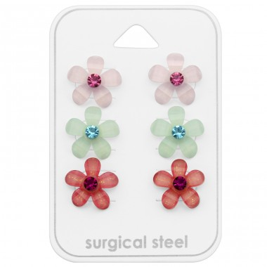 Flower - 316L Surgical Grade Stainless Steel Steel Jewellery Sets A4S29090