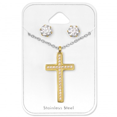 Cross - 316L Surgical Grade Stainless Steel Steel Jewellery Sets A4S30125