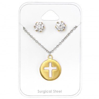 Cross - 316L Surgical Grade Stainless Steel Steel Jewellery Sets A4S30127