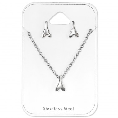 Eiffel Tower - 316L Surgical Grade Stainless Steel Steel Jewellery Sets A4S30160