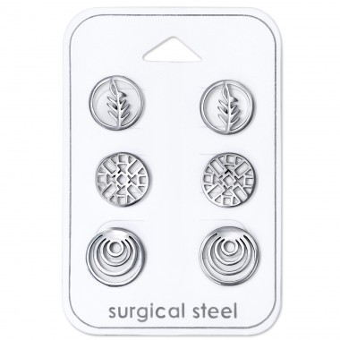 Patterned Circle - 316L Surgical Grade Stainless Steel Steel Jewellery Sets A4S30731