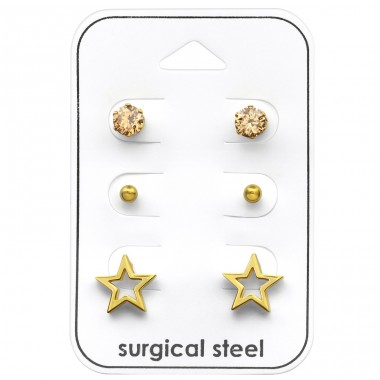 Star - 316L Surgical Grade Stainless Steel Steel Jewellery Sets A4S33362