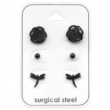 Flower - 316L Surgical Grade Stainless Steel Steel Jewellery Sets A4S33363