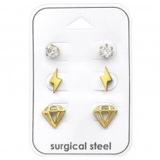 Diamond - 316L Surgical Grade Stainless Steel Steel Jewellery Sets A4S33366