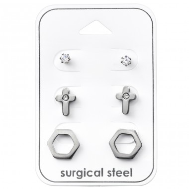 Cross - 316L Surgical Grade Stainless Steel Steel Jewellery Sets A4S33373