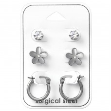 Flower - 316L Surgical Grade Stainless Steel Steel Jewellery Sets A4S33375