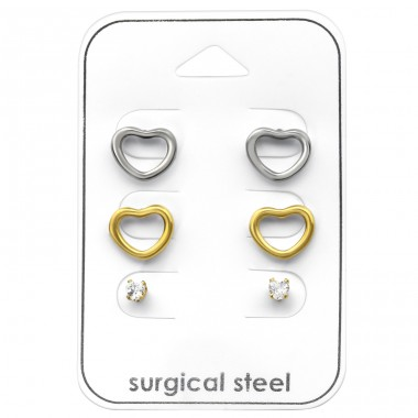 Heart - 316L Surgical Grade Stainless Steel Steel Jewellery Sets A4S33378