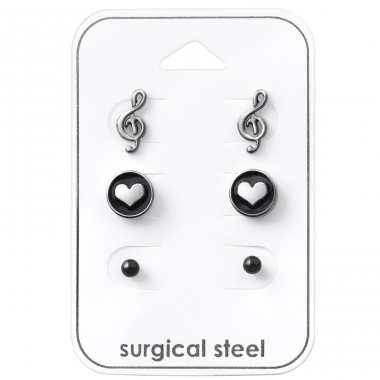 Love Music - 316L Surgical Grade Stainless Steel Steel Jewellery Sets A4S33379