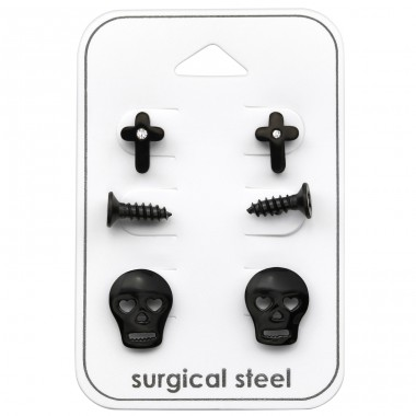 Skull - 316L Surgical Grade Stainless Steel Steel Jewellery Sets A4S33380