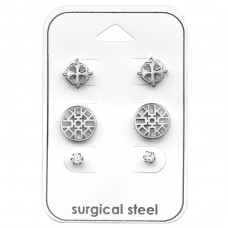 Round - 316L Surgical Grade Stainless Steel Steel Jewellery Sets A4S33382