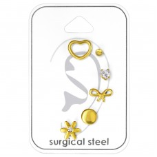 Gold Lovers - 316L Surgical Grade Stainless Steel Steel Jewellery Sets A4S33439