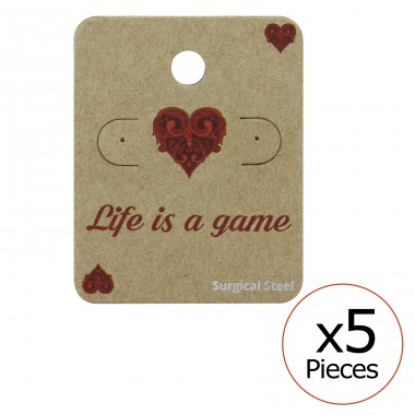 Life Is A Game Ear Stud Cards - Paper Steel Jewellery Sets A4S34092