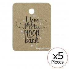 Love You To The Moon And Back Ear Stud Cards - Paper Steel Jewellery Sets A4S34094