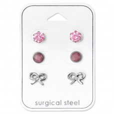 Bow - 316L Surgical Grade Stainless Steel Steel Jewellery Sets A4S34507