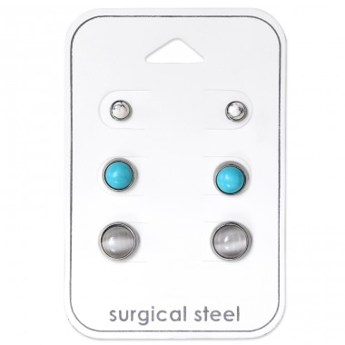 Mixed Stone - 316L Surgical Grade Stainless Steel Steel Jewellery Sets A4S34510