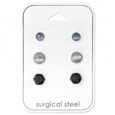 Mixed Stone - 316L Surgical Grade Stainless Steel Steel Jewellery Sets A4S34511