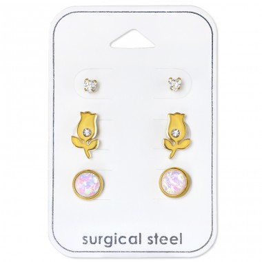 Tulip - 316L Surgical Grade Stainless Steel Steel Jewellery Sets A4S34512