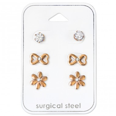 Flower - 316L Surgical Grade Stainless Steel Steel Jewellery Sets A4S34514