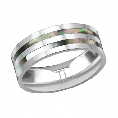 Titanium Double Line Ring With Abalone Shell - Titanium Titan Rings A4S38558