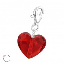 Heart with Swarovski® crystals - 925 Sterling Silver Swarovski Silver Pendants A4S28992