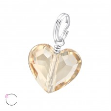 Heart with Swarovski® crystals - 925 Sterling Silver Swarovski Silver Pendants A4S28995
