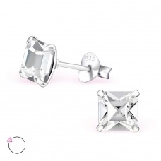 Square with Swarovski® crystals - 925 Sterling Silver Swarovski Silver Ear Studs A4S28155