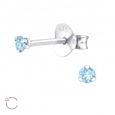 Round 2mm with Swarovski® crystals - 925 Sterling Silver Swarovski Silver Ear Studs A4S30960