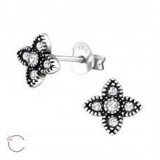 Four Point Star with Swarovski® crystals - 925 Sterling Silver Swarovski Silver Ear Studs A4S32724
