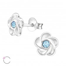 Flower with Swarovski® crystals - 925 Sterling Silver Swarovski Silver Ear Studs A4S32771