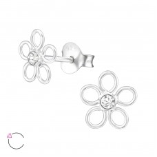 Flower with Swarovski® crystals - 925 Sterling Silver Swarovski Silver Ear Studs A4S32793