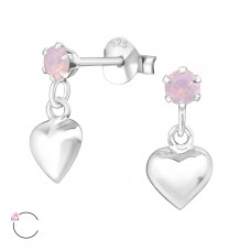 Hanging Heart with Swarovski® crystals - 925 Sterling Silver Swarovski Silver Ear Studs A4S32833