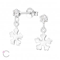 Silver Ear Studs With Hanging Snowflake And Crystals From Swarovski® with Swarovski® crystals - 925 Sterling Silver Swarovski Silver Ear Studs A4S32839