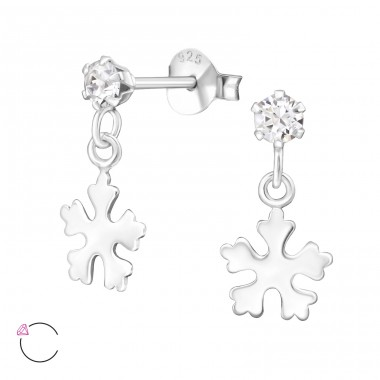 Silver Ear Studs With Hanging Snowflake And Crystals From Swarovski® - 925 Sterling Silver Swarovski Silver Ear Studs A4S32839