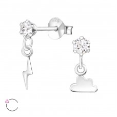 Lightning And Thunder with Swarovski® crystals - 925 Sterling Silver Swarovski Silver Ear Studs A4S32843