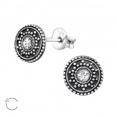 Round Antique with Swarovski® crystals - 925 Sterling Silver Swarovski Silver Ear Studs A4S32915