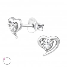 Heart with Swarovski® crystals - 925 Sterling Silver Swarovski Silver Ear Studs A4S32919