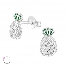 Pineapple with Swarovski® crystals - 925 Sterling Silver Swarovski Silver Ear Studs A4S32924