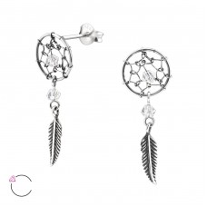 Dreamcatcher with Swarovski® crystals - 925 Sterling Silver Swarovski Silver Ear Studs A4S33307