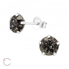 Round 6mm with Swarovski® crystals - 925 Sterling Silver Swarovski Silver Ear Studs A4S34950