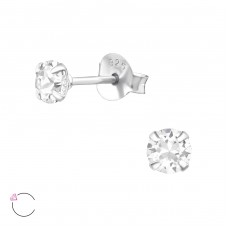 Round 4mm with Swarovski® crystals - 925 Sterling Silver Swarovski Silver Ear Studs A4S34979