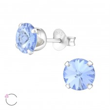 Round 6mm with Swarovski® crystals - 925 Sterling Silver Swarovski Silver Ear Studs A4S35037